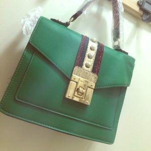 Aldo green red striped pearl embellished handbag